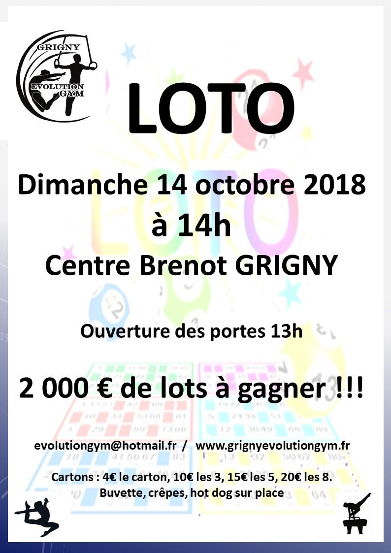 Grand LOTO de rentrée du GEG le dimanche 14 octobre 2018