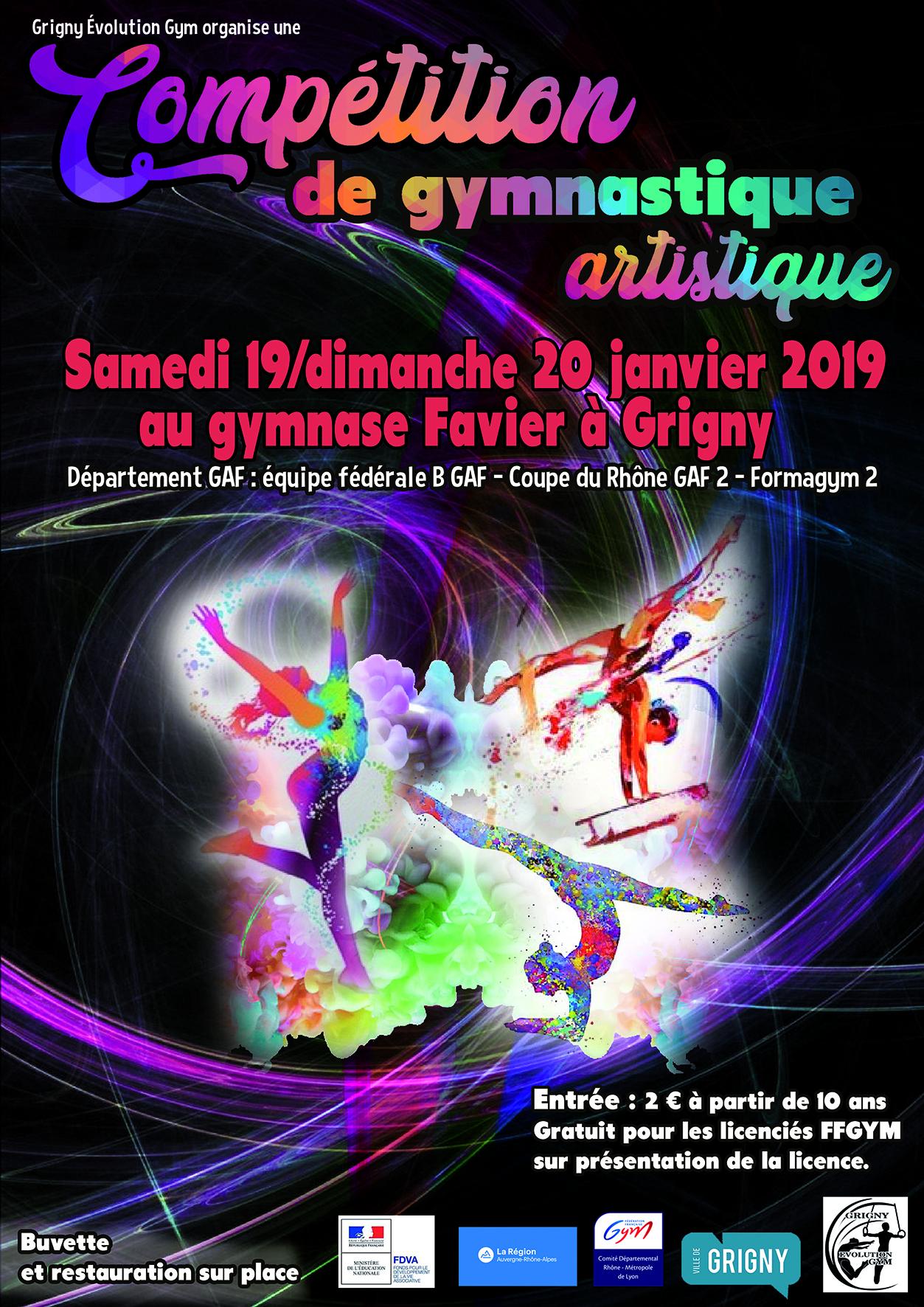 Compétition de gym à Grigny les samedi 19 et dimanche 20 janvier 2019